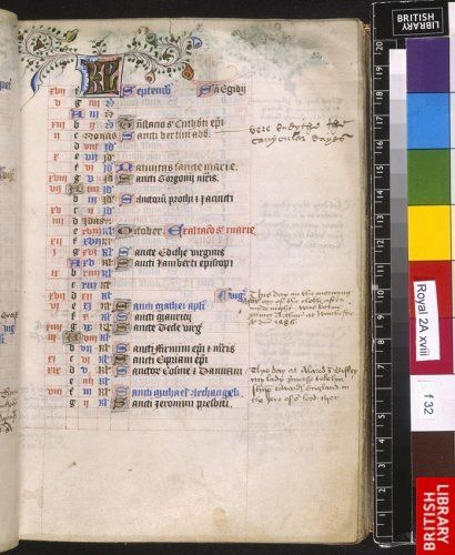 Calendar page for September with additions of the dates of prince Arthur's birth and Catherine's of Aragon journey to England in 1501.     Copyright © The British Library