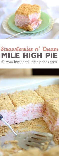 Creamy, dreamy, and perfectly pink for Valentines Day! Strawberries & Cream Mile-High Pie | Leesh & Lu's Recipe Box