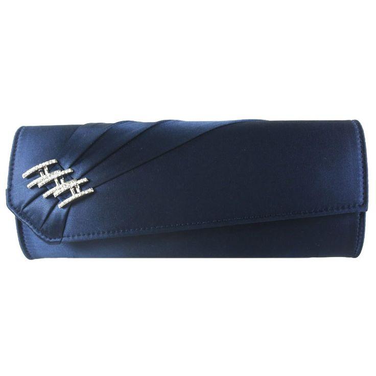 Pink Paradox Donna Navy Satin Handbag Bridal Handbags Crystal Accessories