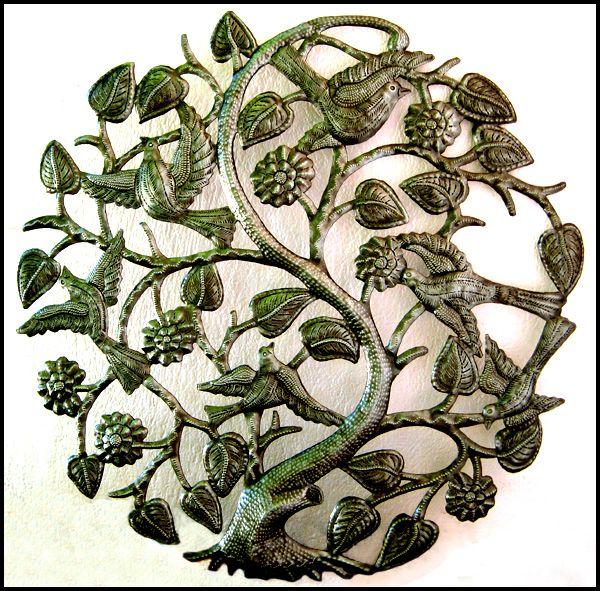 "Tree with Birds & Flowers - Haitian Steel Oil Drum Metal Art - 24"" _ $84.95 -   Steel Drum Metal Art from  Haiti - Interior or Garden Décor   * Found at  www.HaitiMetalArt.com"