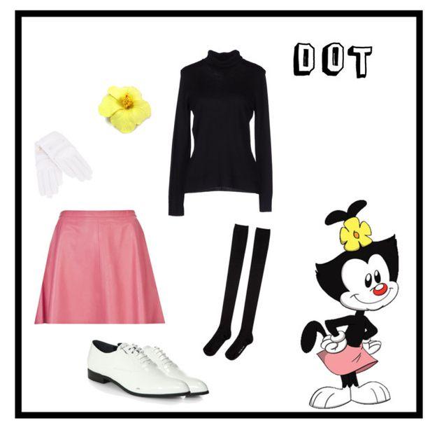 Dot of Animaniacs. Turtleneck by Jolie by Edward Spiers at Yoox, $72. Skirt by Love Leather at FarFetch, $300. Shoes by Prada at Saks Fifth Avenue, $720. Socks by Hansel from Basel at La Garçonne, $32. Leather gloves by Designers Remix at FarFetch, $104. Hair flower at Hairflowers.net, $3.80.