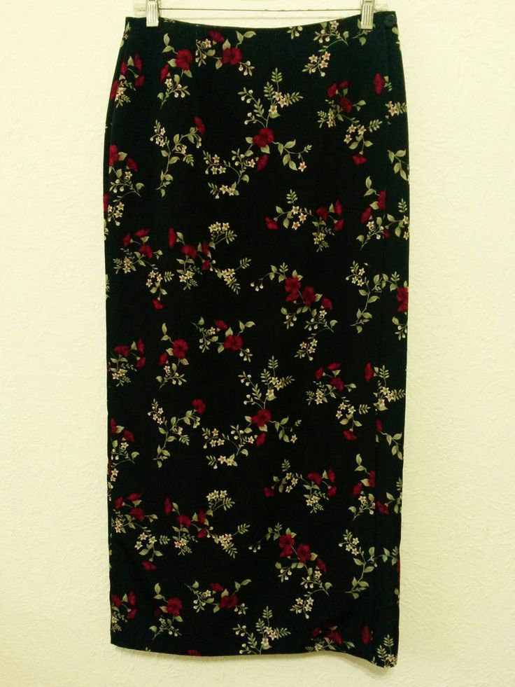 Geoffrey Beene - Women's Skirt - Size 8 - Black Floral Long Lined Wrap Skirt - Made in India #GeoffreyBeene  #StraightWrapSarong ..... Visit all of our online locations.....  www.stores.eBay.com/variety-on-a-budget .....  www.amazon.com/shops/Variety-on-a-Budget .....  www.etsy.com/shop/VarietyonaBudget .....  www.bonanza.com/booths/VarietyonaBudget .....  www.facebook.com/VarietyonaBudgetOnlineShopping