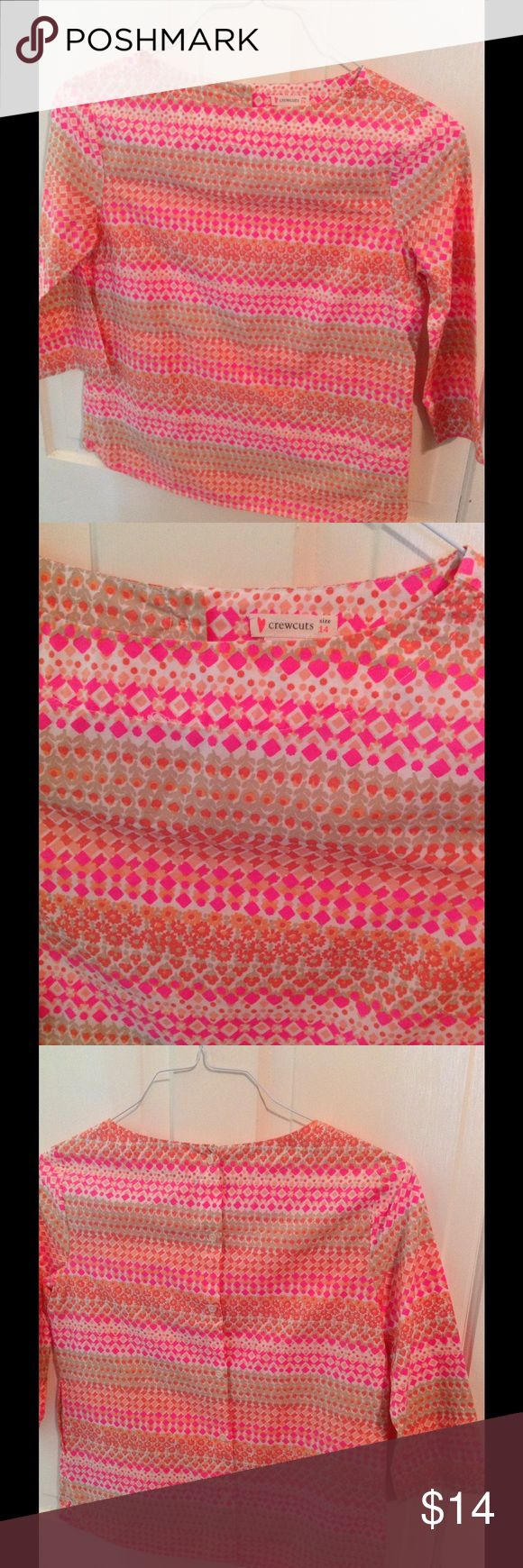 """Girls J. Crew Crewcuts Neon Print Tunic-Top Blouse Manufacturer: Crewcuts 100% cotton Size: 14 Buttons all the way down the back 3/4 sleeves Two front pockets Neon- colored print Condition: Pre-owned in good condition. Measures:  21"""" base of neck to hem J. Crew Shirts & Tops Blouses"""