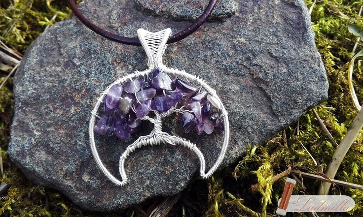 Wire-wrap silver lunitsa with tree of life (amethyst).