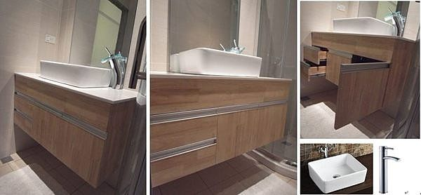 FUO衛浴: 100公分 隱藏式把手 原木色 白色人造石台面 長方形盆 浴櫃組(含龍頭,鏡子) (2053-345)03
