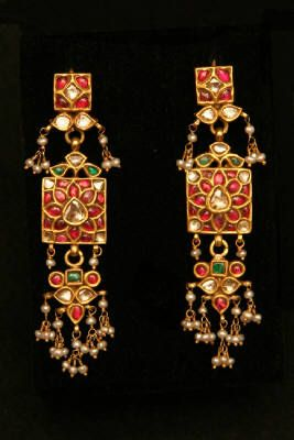 Old Indian Earrings, Gold, Ruby, Emerald, Diamond, Pearl. 19th c.