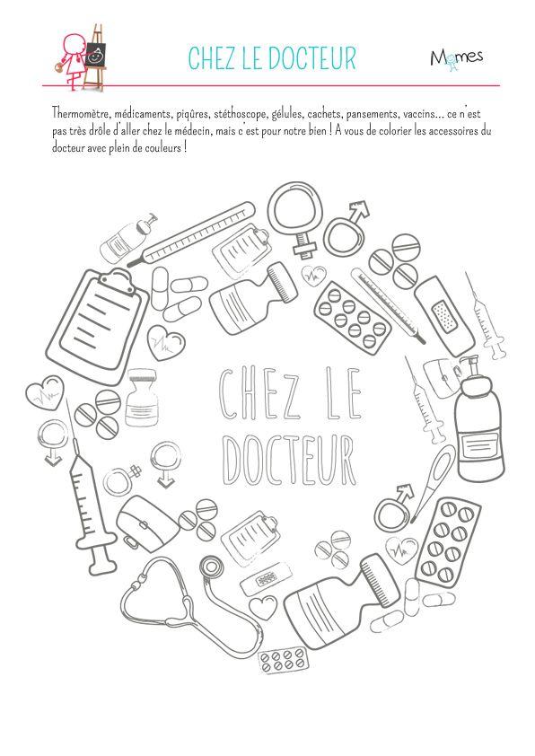 Coloriage : chez le docteur - Momes.net