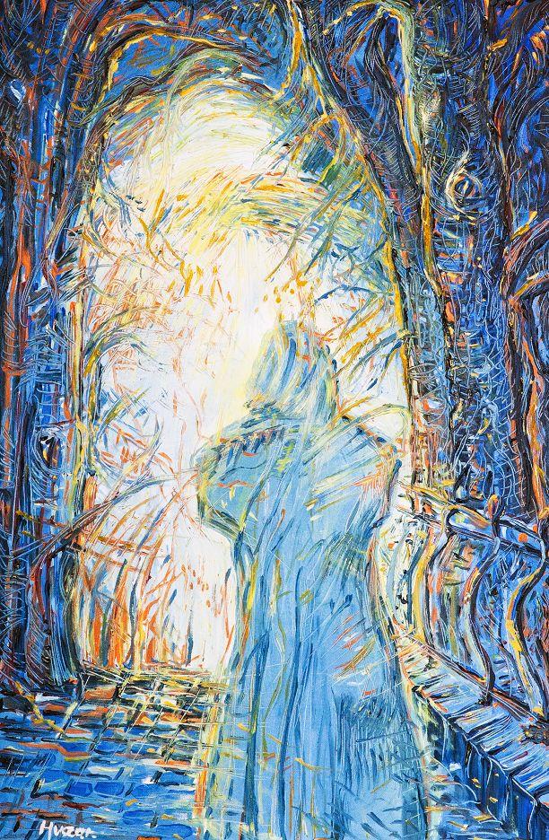 Mních, olej na plátne 90 x 60 cm, Pavel Huszár, Banská Bystrica, Slovakia