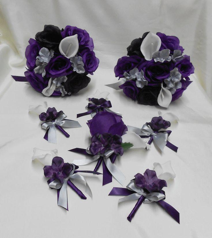 Wedding Silk Flower Bridal Bouquets Package Calla Lily Black Purple Eggplant Plum Rose Silver