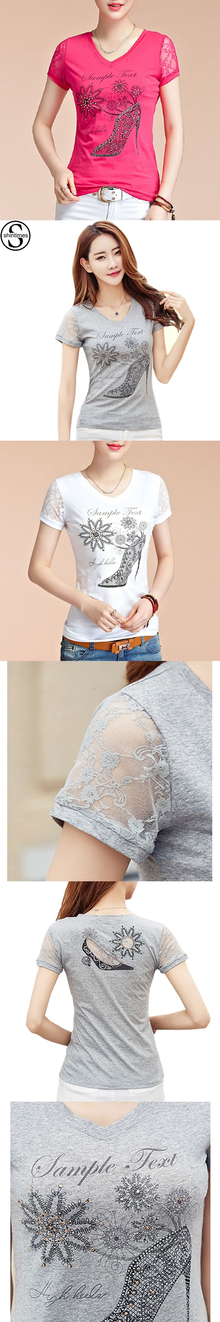 Mujer Tops T Shirt Women 2017 Summer Lace Patchwork Short Sleeves Woman Clothing V-Neck Diamonds Print Cotton T-Shirt Femme Tees
