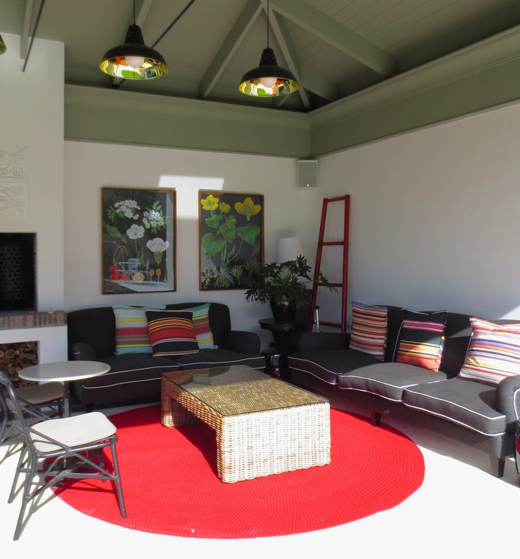 Our Red Robala Rug out on the patio in Constantia, Cape Town