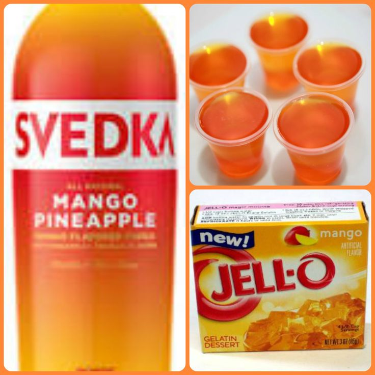 Mango Pineapple Jello Shots 1 package mango Jell-o 1 cup boiling water 1/4 cup cold water 3/4 cup Mango Pineapple vodka 1. Mix jello and boiling water together until jello is desolved. 2. Stir in cold water and vodka. 3 pour mixture into 1 or 2 ounce cups with lids or disposable shot glasses and refrigerate until firm.