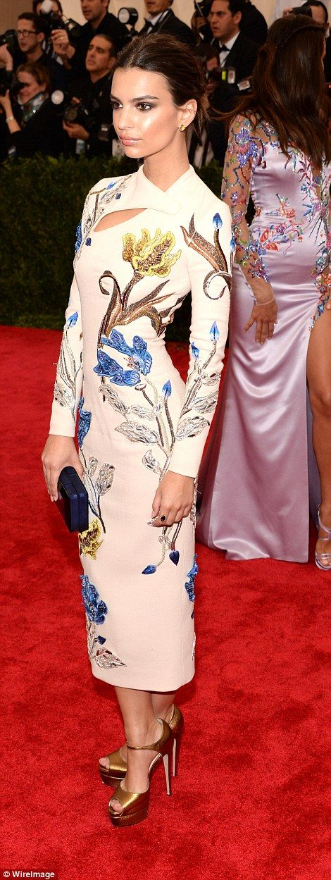 Demure: Blurred Lines starEmily Ratajkowski looked stylish in her Chinese-inspired gown w...