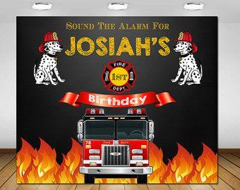 Carro fondo fiesta de cumpleaños, fiesta de cumpleaños de bombero, fiesta de cumpleaños de bomberos, Firetruck partido, pizarra, Telón de fondo, cartel, signo de fuego