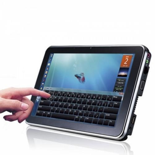 """Touch Screen  Linux OS Tablet  This tablet comes with an Intel atom N450 1.66GHz CPU, 250GB hard drive, Intel NM10 main board, 10.1"""" display, 1024x576 resolution, HD 1.3MP camera, 3 in 1 card reader, Built-in Bluetooth, WIF, full-screen touch and a virtual keyboard."""