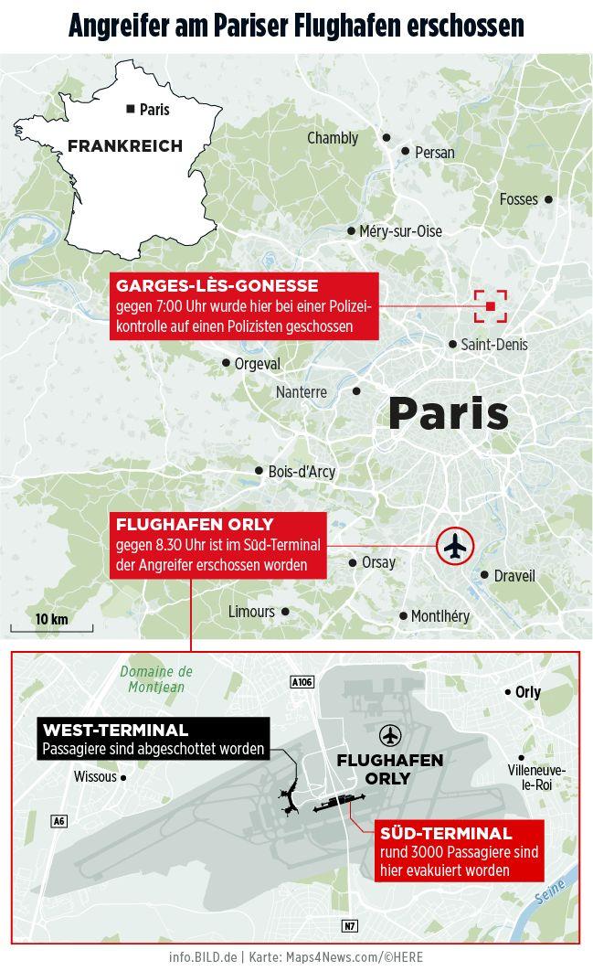 Attacke am Flughafen Paris-Orly: Angreifer soll vorbestrafter Islamist sein - News Ausland - Bild.de