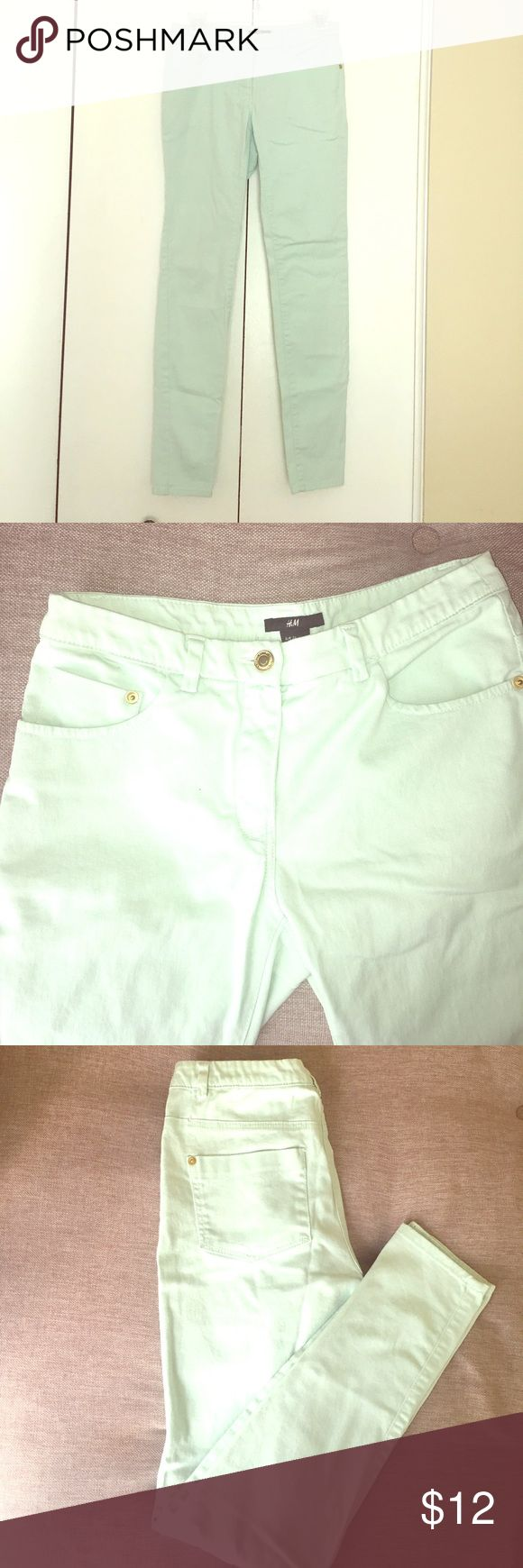 H&M Mint Green Jeans Mint green jeans from H&M in great condition; worn only 2 or 3 times. Size 6, but fits more like a 2-4. Mid- to high-rise. Straight leg, but not super skinny. Color is much more saturated than I was able to capture in the photos. Real color is closest to first photo. Gold button accents. H&M Jeans Straight Leg