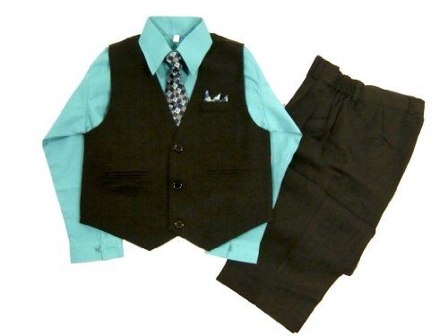 Classykidzshop Black Teal Toddler Boys Vest Set (Size 2T) 4 pieces Black Teal vest set. Teal dress shirt. Matching satin long tie. Black pin strip vest (with decorated attached handkerchief). Black pin strip pants with elastic waistband.  #Classykidzshop #Apparel