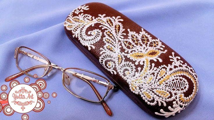 Кружевная роспись футляра для очков. Нарядный декор ручной работы