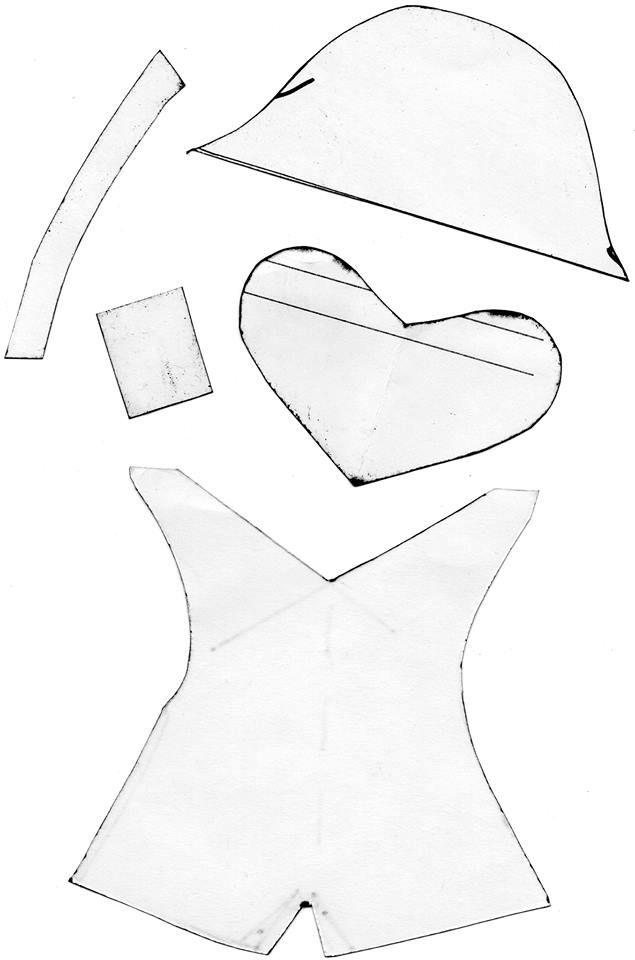 template for Beaver Hanger, hat, stripe, cheeks (heart), teeth, vest.  Glue onto…