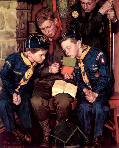 """The Right Way"" ~ by Norman Rockwell (1894-1978). Rockwell loved the boy scouts -- from 1924 to 1974, in all but two years, Rockwell painted calendars for the Boy Scout organization."