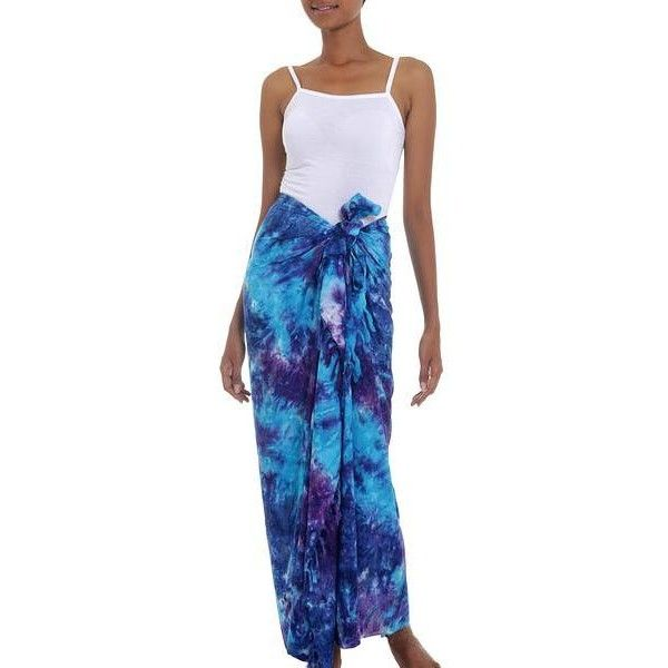 NOVICA Rayon Tied Dyed Sarong in Assorted Shades of Blue and Purple ($21) ❤ liked on Polyvore featuring swimwear, cover-ups, clothing & accessories, sarongs, wraps & sarongs, beach wrap cover up, swim cover up, beach sarong cover ups, cover up swimwear and fringe cover up