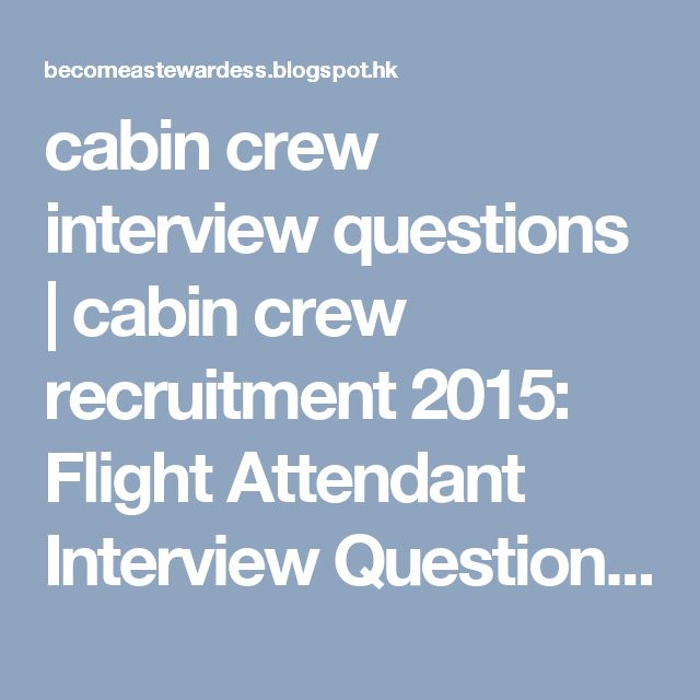 interview questions for flight attendants