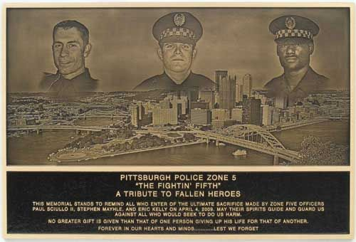 IMAGECASTING BRONZE PLAQUE WITH 4 IMAGES PITTSBURGH POLICE SLAIN IN THE LINE OF DUTY ON THE SAME CALL FALLEN HEROS