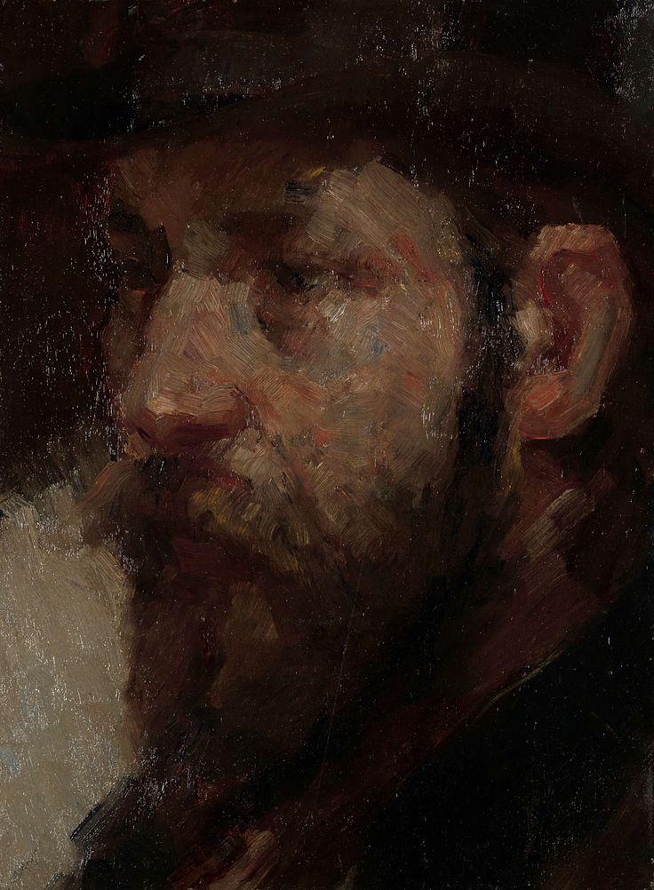 Marinus van der Maarel | Portret van de kunsthandelaar E.J. van Wisselingh (1848-1912), Marinus van der Maarel, 1880 - 1912 | Portret van de kunsthandelaar E.J. van Wisselingh, stichter van de Firma van Wisselingh & Co. Buste, naar links, met een lange baard en een hoed op het hoofd.