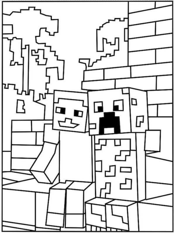 Ausmalbilder Minecraft Creeper Und