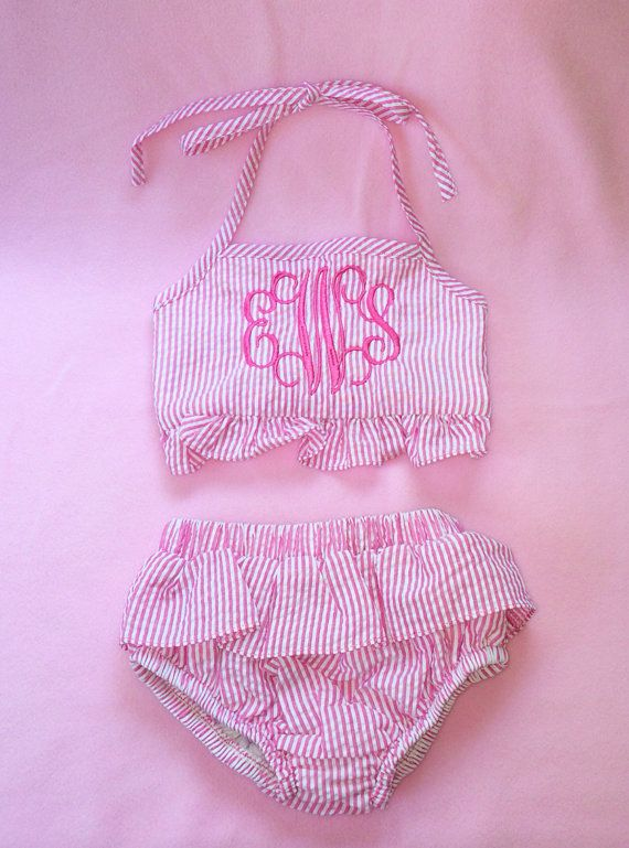 Pink Monogrammed swimsuit, monogrammed 2 piece, girls swimsuit, bikini, Monogrammed bathing suit, Toddler swimsuit, seersucker swimsuit