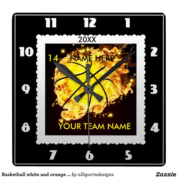 Basketball white and orange flame clock  Personalized basketball orange flame square clock with Name of player`s,Name of team,Number of jersey and the Year on it. white and black clock.Background color can be change to team color. This time piece is great for a gift.Delete any or all text. IMPORTANT Personalize each basketball flame timekeeping device,ONE at a Time, ADD that clock to CART.