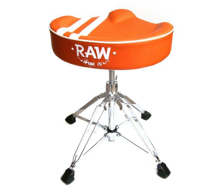 RAW 'Steve McQueen' Stripe Top Orange Drum Throne, 4-Legs  http://www.drumshop.co.uk/collections/drum-thrones/products/raw-steve-mcqueen-stripe-top-drum-throne-4-legs
