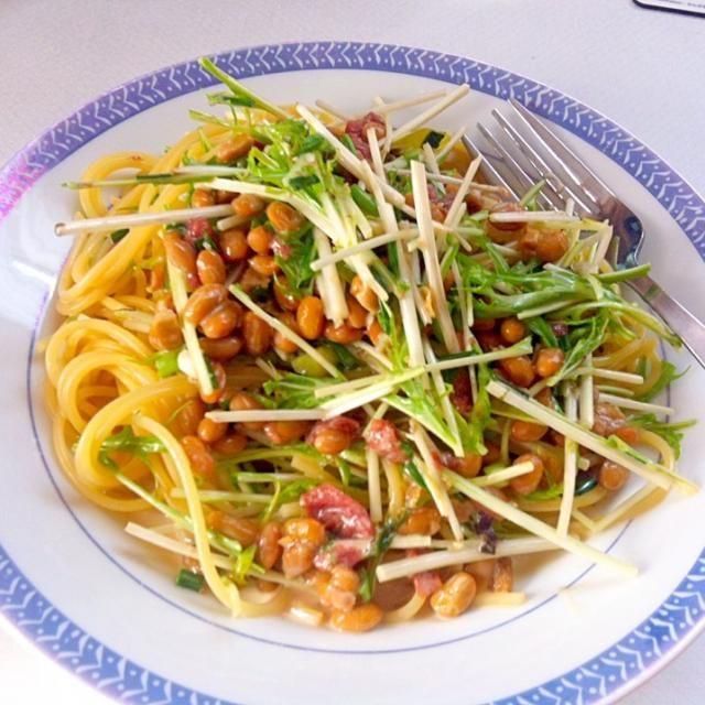 梅干しも入ってます! - 10件のもぐもぐ - 納豆と水菜のパスタ by shiori0715