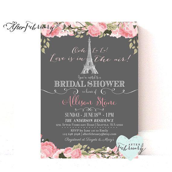Paris Bridal Shower Invitation // Blush Pink Floral // Love is in the Air // Paris Shower Invite // Bridal Shower // Printable No.977