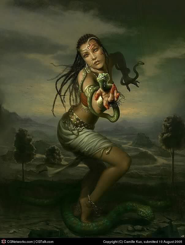 Malinalxochitl- Aztec myth: she was a sorceress and goddess of snakes, scorpions and insects of the desert. Her brother was Huitzilopochtli, a national God of Mexico.