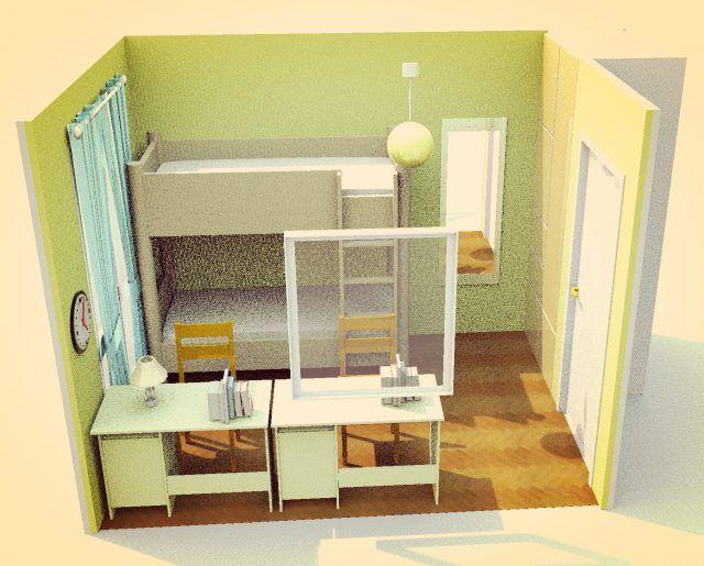 4畳半の子供部屋 2段ベッド 縦寄せ 5畳 レイアウト 子供部屋 子供部屋 間取り