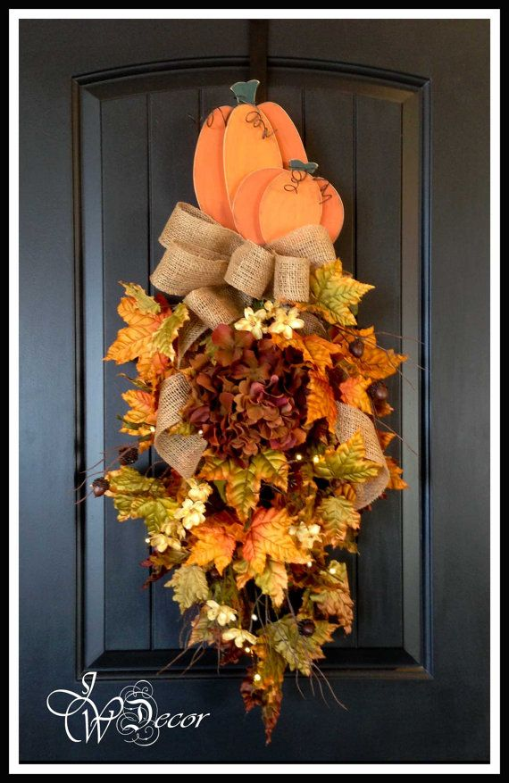 Fall Wreath with lights, Teardrop Swag Front Door Hanger ...
