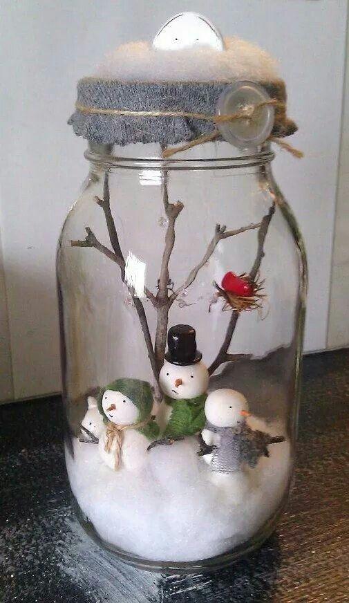 natale, pupazzo di neve, barattolo vetro, cotone