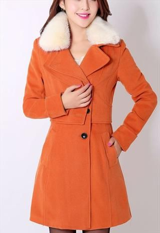 orange wool white fur collar elegant coat sale h450