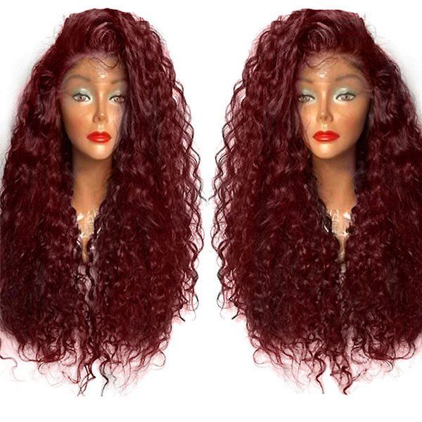 Long Curly Side Parting High Temperature Fiber Lace Front Wig - WINE RED