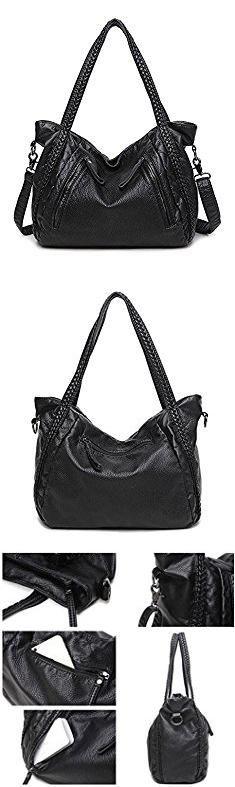Slouchy Hobo Handbags. Mn&Sue Black Large Slouchy Soft Leather Women Handbag Braided Shoulder Tote Bag Lady Hobo Satchel.  #slouchy #hobo #handbags #slouchyhobo #hobohandbags