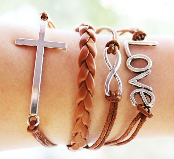 Handmade Leather Friendship Bracelet Charm by BesideTheCloud