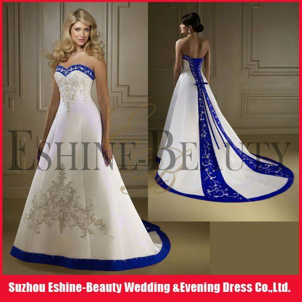 Vintage A-line royal blue and white wedding dresses