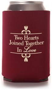 FREE SHIPPING Two Hearts Love Reception Wedding Reunion Can Bottle Holder Party Favors Trinket Coolers Personalized Custom Beer Can Foam by WeddingsandReunions on Etsy