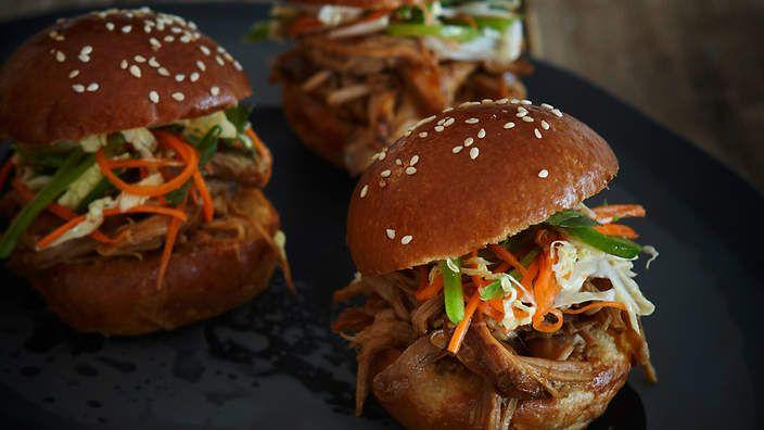 Vietnamese pulled pork sliders with Asian slaw