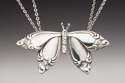 butterfly pendant from spoon handles