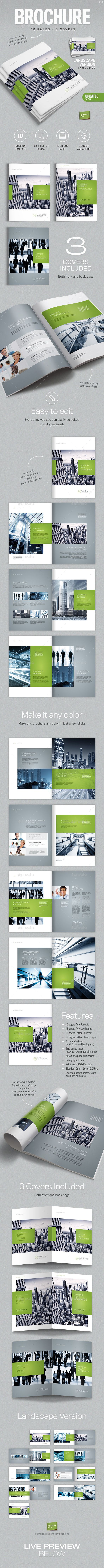 Corporate Business Brochure 16 pages A4 + Letter - Corporate Brochures #indesign #template