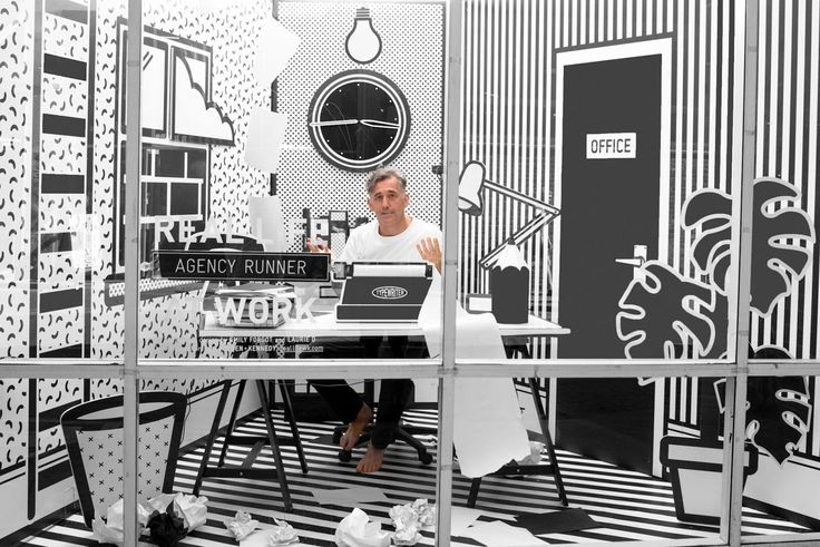 A Surreal Monochromatic Pop-up Workspace at Wieden+Kennedy