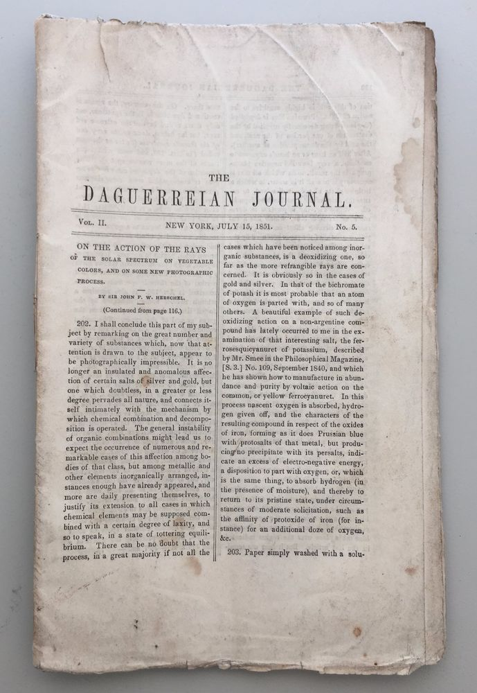 Two issues of THE DAGUERREIAN JOURNAL  July 15 and Oct 15, 1851